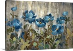 """Flowers and leaves """"Silver and Sapphire"""" wall art by Silvia Vassileva from Great BIG Canvas"""