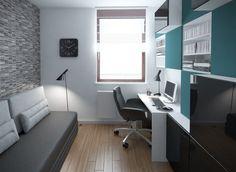 meuble bureau avec rangement en blanc, noir et turquois et canapé gris