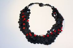 Multi-strand Industrial Disc Necklace with Red Strand #fairtrade #worldpeaces