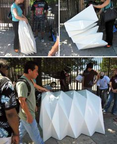 Tina Hovsepian has developed a foldable, portable, emergency housing shelter based on the principles of origami. Architecture Origami, Pavilion Architecture, Architecture Student, Homeless Housing, Homeless Shelters, Trailer Casa, Portable Shelter, Homeless People, Cardboard Furniture