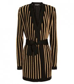 Balmain Striped Metallic Stretch-Knit Jacket