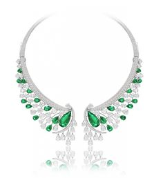 A necklace made of 19 carats of Colombian emeralds and 51 carats of white diamonds set in 18k white gold.
