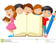 Illustration about Illustration of Cartoon kids with book and pencil. Illustration of paper, handbook, cartoon - 50763442 School Board Decoration, School Decorations, Cartoon Drawing For Kids, Cartoon Kids, School Border, Boarders And Frames, School Coloring Pages, School Frame, Kids Background
