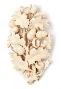 ivory brooch from Dieppe, carved with oak leaf and acorn design ~Technically not a rock but it still belongs in here