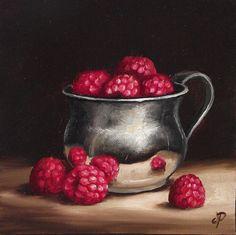 Raspberries in Silver Cup Original Oil Painting by JanePalmerArt, £59.00