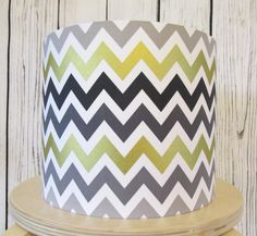 Handmade lampshade in a zig zag geometric fabric of gold, grey and white 25cm by Candidowl on Etsy https://www.etsy.com/listing/248834320/handmade-lampshade-in-a-zig-zag