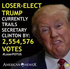 NEVER let him forget that only a small fraction of the country voted for him -- if it weren't for the electoral college, he wouldn't be where he is at all.  MOST OF US HATE YOU TRUMP.