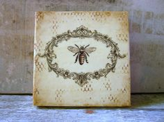 Bee Painting Gift Her Rustic Romantic French Cottage Decor Small Art Encaustic Beeswax Ready to Ship Bee Painting, Encaustic Painting, French Cottage Decor, Wooden Cradle, Lip Balm Labels, Bee Skep, Bee Gifts, Bee Art, Bee Theme