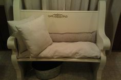 Vintage Carved Cream Colored Pew Bench —
