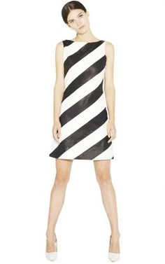 Paige Leather Boat Neck A line Dress