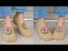 DIY Tutorial - Crochet Sweet Simple Slippers - Soft Shoes Booties Bedroom Slipper for Adults - YouTube