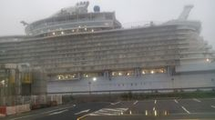 The protective sheeting removed from the cabin balconies on the Harmony of the Seas.