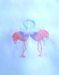 フラミンゴ 刺繍