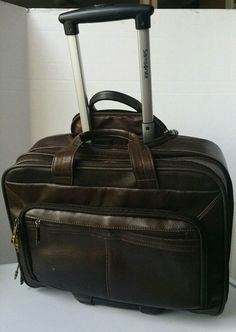 Samsonite Brown Leather Wheeled laptop Briefcase business Travel-carryon luggage #Samsonitehardbrownleathercomputerbriefcase #BriefcaseAttache