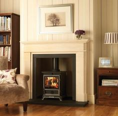 Woodburner in victorian fireplace Stove Fireplace, Fireplace Remodel, Fireplace Design, 1930s Fireplace, Victorian Fireplace, Fireplace Ideas, Exposed Brick Fireplaces, Modern Fireplaces, Fireplace Surrounds