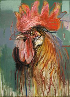 Tips To Stop Chickens From Pecking One Another – Chicken In The Shadows Rooster Painting, Rooster Art, Chicken Painting, Chicken Art, Pablo Picasso, Chickens And Roosters, Bird Artwork, Galo, Pastel Art