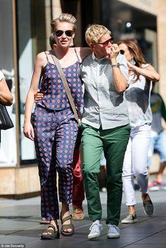 f096e1ad30 So in love  Ellen DeGeneres kissed wife Portia de Rossi s hand while walking  arm…