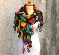 amethist gray background Women's Scarves, Scarf Crochet shawl Women Accessories Colorful Crochet Cotton thread shawl - Xailes, Cachecois,Lencos e luvas, perneiras e meias - Art Au Crochet, Poncho Crochet, Crochet Shawls And Wraps, Freeform Crochet, Crochet Scarves, Crochet Clothes, Crochet Stitches, Free Crochet, Crochet Accessories
