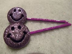 2 GLITTERED SMILEY FACES Hair Bobby Pins by JUSTEJOLIE on Etsy