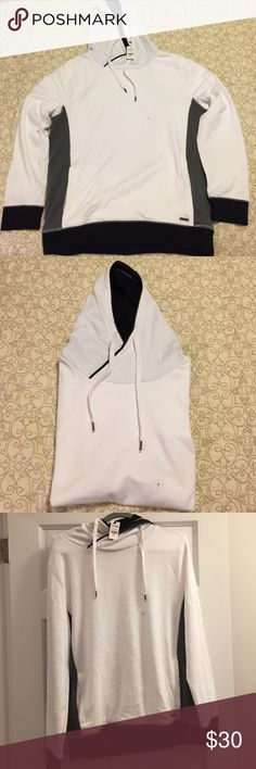 Express Hooded Sweatshirt New with tags! White, black and grey Express hooded sweatshirt.  Never worn. Express Shirts Sweatshirts & Hoodies