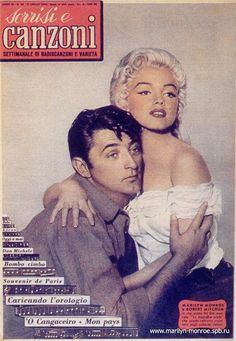"""TV s sorrisi e canzoni - July 11th, 1954, Italian magazine. Front cover photo of Marilyn Monroe with her co-star Robert Mitchum, in publicity for """"River of No Return"""". Photo by Frank Powolny, ca.1953-54."""