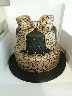 Leopard Print Bow Quilting Pearls Cheetah Cakes Cake