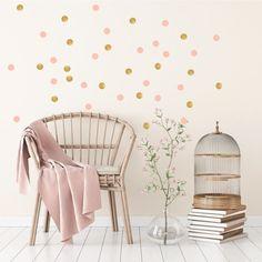 Confetti (goud/roze) - Muurstickers