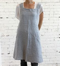 Image of French Linen Striped Apron...add a little lace, a rose, a couple of rips, and voila, shabby chic!