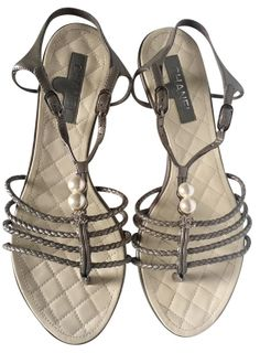 bcc0ba318793 Chanel Orig. Box - Pearls W  Ccs Braided Patent Leather W Quilted Insoles  Grey