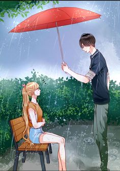 I was weeping in rain and then my love came and recognise my tears and then cover me from umbrella to see that what I m without rain Couple Anime Manga, Anime Love Couple, Cute Anime Couples, Anime Guys, Manga Anime, Anime Art, Cute Couple Drawings, Cute Couple Cartoon, Cute Couple Art