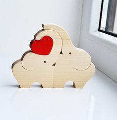 Elefante de madera amor elefantes puzzle de por LadyEvaDESIGN