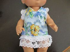 """13"""" Baby Alive Handmade Blue Flowers Dress 2 Cloth Diapers Fits 12 13"""" Doll 