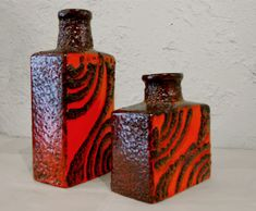 West German Pottery Fat Lava Vases, by Scheurich Keramik ( 60′s )