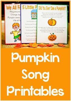 Special ~ Pumpkin Songs Pumpkin Songs with free printables!Pumpkin Songs with free printables! Preschool Music, Fall Preschool, Preschool At Home, Pumpkin Preschool Crafts, Kids Learning Activities, Preschool Activities, Halloween Songs, Halloween Activities, Preschool Halloween