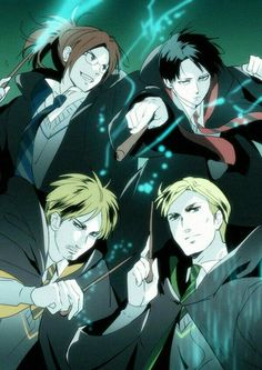 Levi, Hanji, Erwin, Mike, Harry Potter, crossover, cool, wands; Attack on Titan