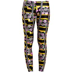 MIA x VERSUS Floral Printed Leggings (€76) ❤ liked on Polyvore featuring pants, leggings, bottoms, calça, pull on pants, gold leggings, multi color leggings, print leggings and stretchy leggings