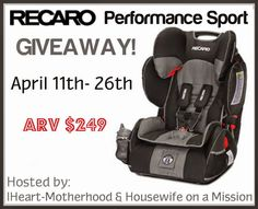 We're Parents!?: Guest Post: Recaro Performance Sport Car Seat Giveaway