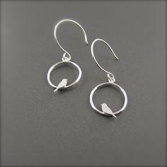 Birds on a Wire Earrings - Mini Silver