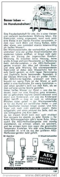 Original-Werbung/ Anzeige 1956 - AEG HEISSWASSERGERÄTE - ca. 75 x 220 mm