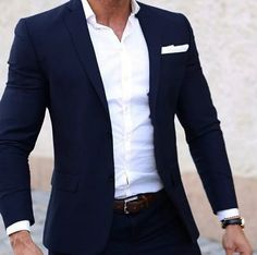 Men Summer Suits Custom Made Light Weight Breathable Blue Man Suit, Navy Blue Cool Tailor Made Summer Wedding Attire For Men Men Summer Suits… Blazer Outfits Men, Stylish Mens Outfits, Mens Fashion Suits, Mens Suits, Men Wedding Fashion, Mens Casual Wedding Attire, Fashion Fashion, Blue Suit Men, Navy Blue Suit