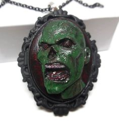 Zombie Freak Cameo Necklace Pendant or Keychain - pinned by pin4etsy.com