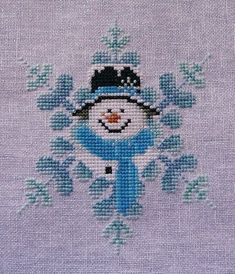 Frost Blue, Snowflake Snowman Christmas Ornament Cross Stitching Winter