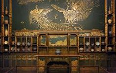 Whistler's Peacock Room, Freer Gallery of Art in Washington - The most marvellous example of aesthetic movement interior decoration, designed for the wealthy shipping tycoon Frederick Leyland. The large scale frieze of stylised peacocks, gold on turquoise blue, wound around the walls of the dining room in Leyland's palatial house in Prince's Gate, giving his guests something sensational to look at while they ate. After Leyland's death, was sold to the American collector Charles Freer.