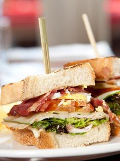 Gourmet prosciutto, smoked cheese and egg club sandwich (olivemagazine. Smoked Cheese, Salad Sandwich, Mediterranean Recipes, Prosciutto, Greek Recipes, Cobb Salad, Sandwiches, Brunch, Easy Meals