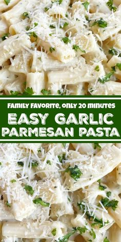 Making Pasta is so easy and is perfect for busy weeknight dinner. Here are some amazing Pasta recipes for dinner which you can make in a jiffy and serve. Garlic Parmesan Pasta, Creamy Garlic Pasta, Garlic Butter Pasta Sauce, Parmesan Recipes, Pastas Recipes, Easy Pasta Recipes, Recipes Dinner, Pasta Recipes For Lunch, Meatless Pasta Recipes
