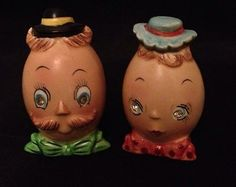 Vintage Anthro / Anthropomorphic Egg Head Salt Pepper Shaker Set Humpty Dumpty