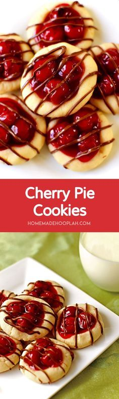 Cherry Pie Cookies! The taste of cherry pie without all the fuss! Cherry pie filling nestled in a buttery cookie and drizzled with milk chocolate. Festive and delicious!   HomemadeHooplah.com