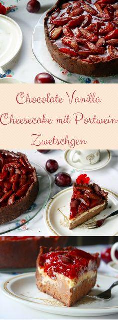 Chocolate Vanilla Cheesecake mit Portwein Zwetschgen. Dieser himmlisch cremige Chocolate Vanilla Cheesecake mit Portwein Zwetschgen Topping ist eines meiner absoluten Lieblingsrezepte für den Spätsommer und Herbst! Käsekuchen Liebhaber müssen hier zuschlagen!