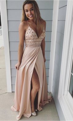 prom dresses Straps V Neck Beads Chiffon Long