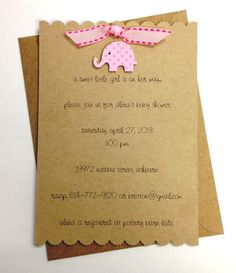 pink elephant baby shower invitations/birth announcements with matching envelopes - set of 12
